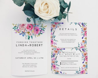 Printable Wedding Invitation Suite, DIY invitation template, Wedding Invitation template, Bohemian wedding invitation, Floral invitation pdf