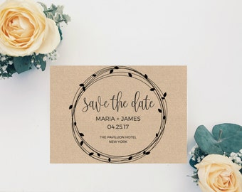 Save The Date Template, Save The Date Printable, Save The Date Rustic, Wedding Save The Date Template, DIY Save The Date, Digital Download