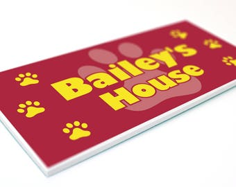 Dog House Name PLAQUE - Personalised pet home kennel bed indoor outdoor sign - PAWPRINT Design