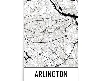 Arlington Map, Arlington VA Art, Arlington Print, Arlington VA Poster, Arlington Wall Art, Map of Arlington Virginia, Arlington Gift, Decor