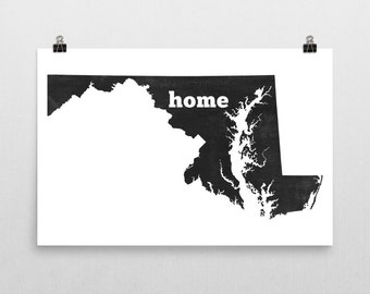 Maryland Home, Map of Maryland, Maryland State, Maryland Wall Art, Maryland Gifts, Maryland Map, Maryland Print, Maryland Decor, Poster