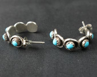 Turquoise Earring Hoops Inlaid Native American Indian Navajo Indian Sterling Silver