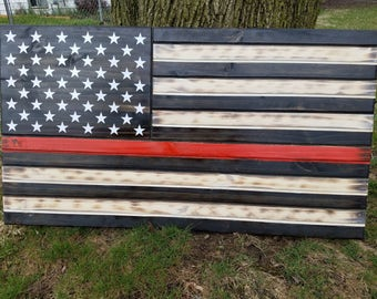 Thin Red Line, Firefighter, Rustic, Distressed, Charred, Wood flag