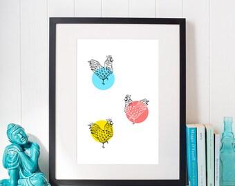 Wall nursery bird Modern wall bird Bird wall digital Art dot print color Decor wall chicken Digital bright color Nursery art wall bird gift