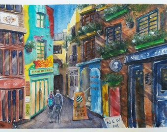 Neil's Yard, London. Original watercolour. Cityscape.