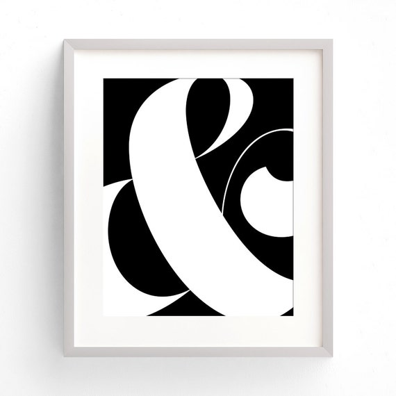 Black Ampersand Wall Decor : Elegant ampersand printable wall art minimalist and sign