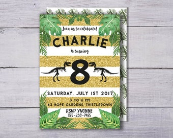 Dinosaur Invitation, Boy's Birthday Invitation, Dinosaur Party Invitation, Dinosaur Birthday Invitation, Dinosaur Invite Fossil Party Invite