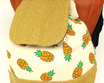 Canvas Backpack pineapple ,school back, holiday back,cross body back, canvas shopping back , holiday gift back,