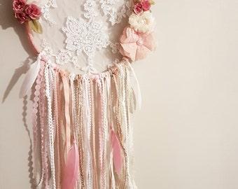 Large Vintage Pink Dreamcatcher