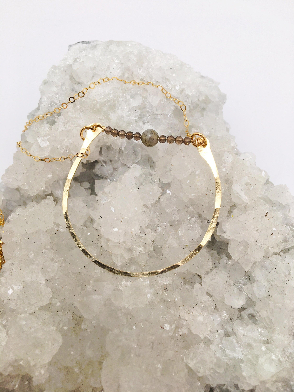 The Jai Necklace// hammered gold fill jewelry// smokey quartz// labradorite jewelry// bridal jewelry// bridesmaids jewelry// hammered gold