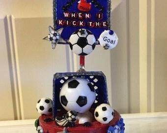Soccer Theme Gift, Soccer Team Decoration, Futbol Keepsake, Soccer Keepsake, Crafted Soccer Box, Crafted Futbol Box, Soccer Team Gift