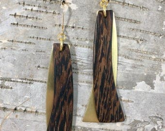 Wenge and Brass Modern Drop Earrings. Exotic Wood Earrings. Gifts for Her.