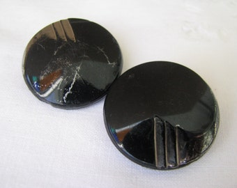2 Vintage Black Glass Buttons Silver Accent Supply