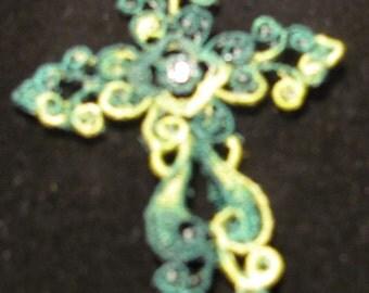 Verigated Green Cross      Bookmark or Ornament