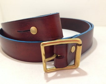 Leather Gun Bag Strap Mahogany and Turquoise