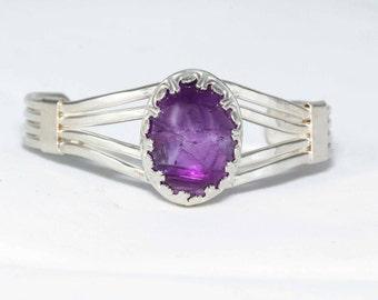 Amethyst Cabochon Fancy Bezel 925 Silver Cuff Bracelet