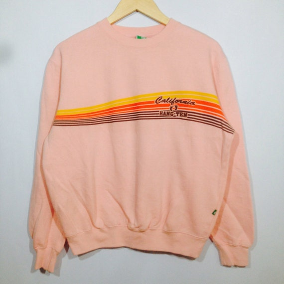 Rare! Vintage HANG TEN California Striped Crew Neck Pullover Sweatshirt Light Pink Colour Medium Size