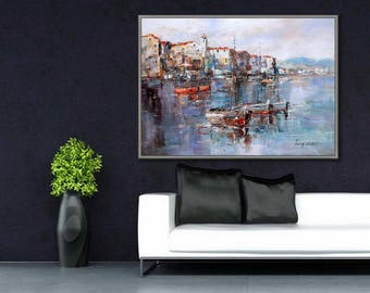 "Boat painting Fishing Boat wall Art Impressionist Boat Harbor wall art oil painting 20x28""/50x70cm"