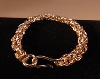 "Sterling Silver Handmade Byzantine Chain Braclet 6"""