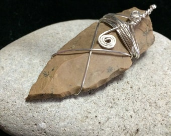 Flint Arrowhead Wire Wrapped Pendant