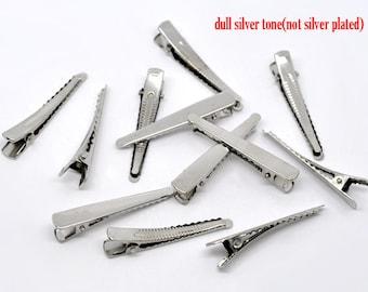 10 silver Barrettes hair clips 5 cm hairpins hairclips DIY