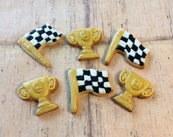 Racing Cookies - Car Party - Checkered Flag Cookies - Race Car Party - Decorated Cookies -  Racing -  Sugar Cookies