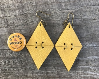 2 inch Leather/Suede Double Triangle Earrings in Mustard Yellow