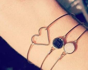 Druzy bracelet black quartz, druzy quartz gemstone, gold plated bracelet Bangle