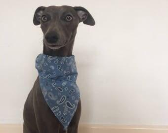 Blue Paisley Dog Bandana 3 Sizes Whippet Lurcher Greyhound Italian Greyhound
