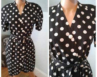 Vintage 80s does 50s polka dot dress pinup
