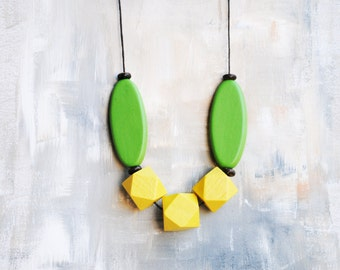 Geometric Necklace, Boho necklace, Statement Necklace, Bohemian Jewelry, Handmade necklace, Wooden necklace green and yellow
