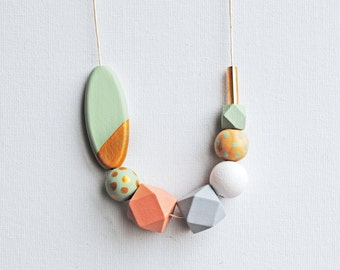Handpainted Chunky Geometric Necklace, Boho necklace, Color block Statement necklace, Handmade necklace, Wooden necklace  Polka dots mint