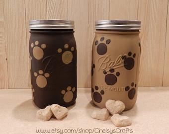 Doggie Treat Mason Jar with Doggie Prints