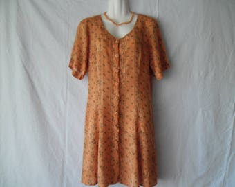 Vintage Short Orange Viscosa Printed Dress ,Short Sleeves Buttons Front 90s Dress,Casual Every Day Summer  Mini   Dress