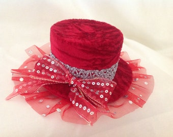 Mini top hat fascinator in Red crushed velvet with silver trims