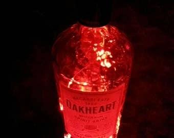 Bacardi Oakheart Rum Upcycled Battery Powered Red LED Light Lamp (1L)