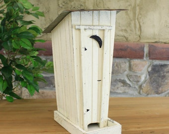 Wooden Outhouse Bird Feeder With Rustic Tin Roof - 3 Assorted Colors Red, Green, White