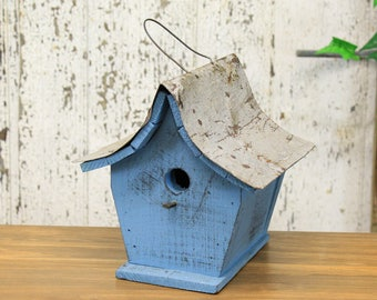 Rustic Wooden Birdhouse With Sloped Tin Roof (5 Assorted Colors) Blue, White, Green, Yellow, Red
