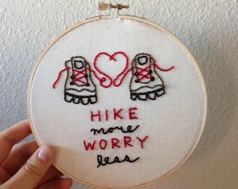 Hike More Worry Less Hiking Boots Embroidery