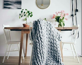 knit blanket etsy. Black Bedroom Furniture Sets. Home Design Ideas