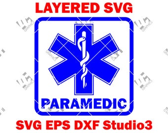 Paramedic - EMS Star of Life - EMT Logo - Cutting File in Svg, Eps, DXF, and Studio3 - Cricut, Silhouette Cameo Studio- Instant Download