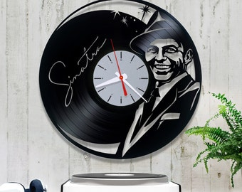 Frank Sinatra vinyl record clock. Wall clock, vinyl clock  1/3/1. Vinyl record clock. Jazz swing wall art home design