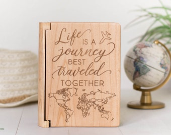 World Map Photo Album, Life is a Journey, Best Traveled Together Wedding Gift, World Travel, Wedding Anniversary, Wood Anniversary, PA2