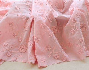 "51"" Width 100% Cotton 3D Floral Embroidery Cotton Fabric by the Yard - Pink"