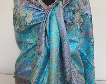 Super soft colorful Pure silk scarf, Traditional full designed Silk scarf, Reversible silk scarf, Turkish silk scarf, %100 silk scarf