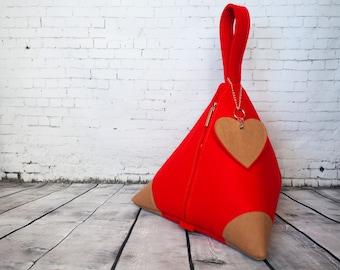 Red Piramido Bag/Handbag/Wrist Bag/Wristlet/Eco Felt/Washable Paper/Washpapa/Kraft tex/Vegan