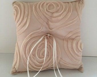Wedding ring cushion - neutral swirl pattern