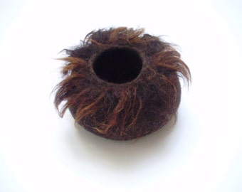 Felt Bowl raw, shell felted organic wool, Brown,