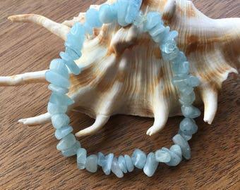 Aquamarine Seichem/Reiki Energy Charged Chip Bead Bracelet (Healing)