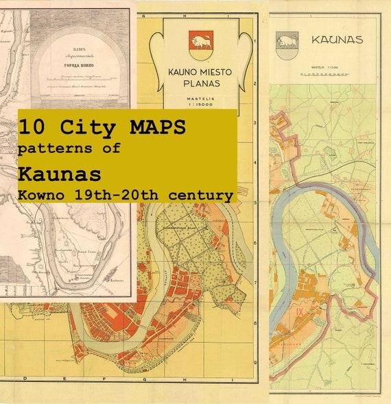 Digital City MAPS Patterns Of Kaunas Kowno Thth - Kaunas map
